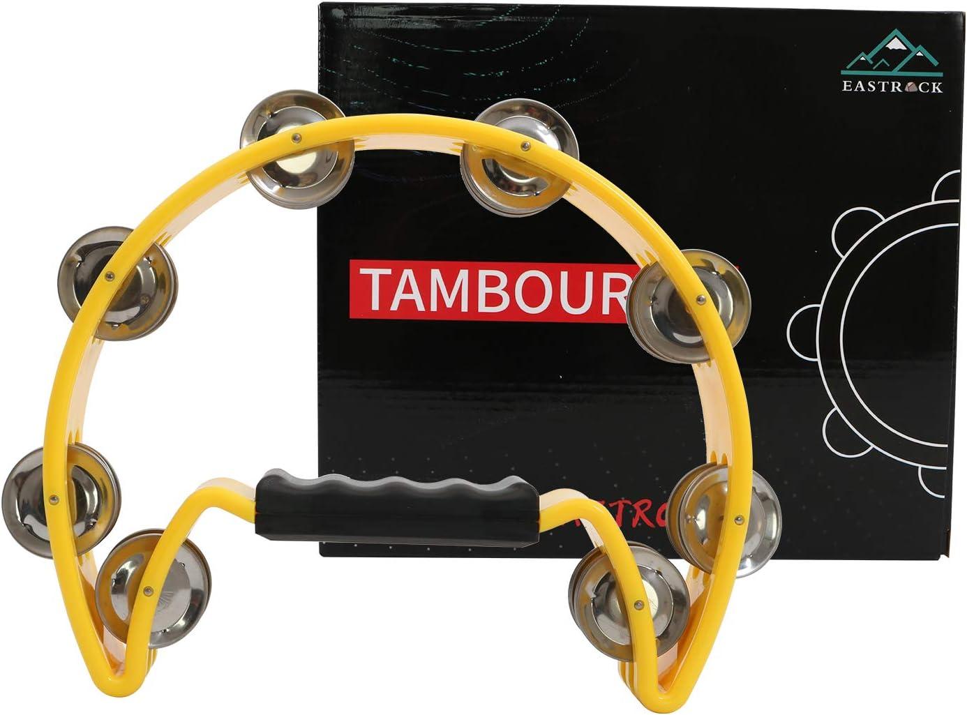 EastRock Tambourine,Metal Jingles Hand Held Percussion-Half Moon Tambourine for Kids Adults Party BLACK KTV