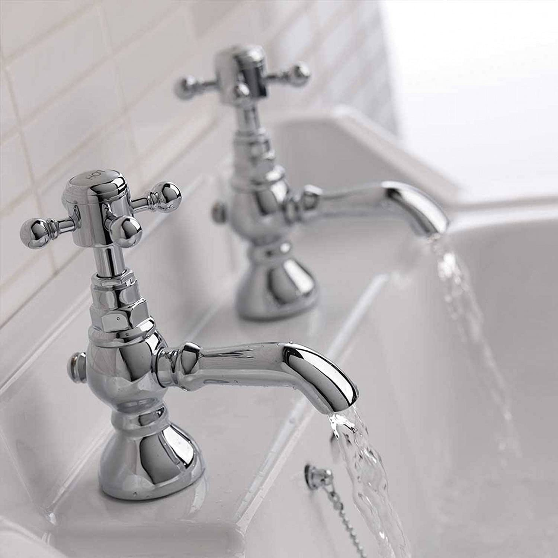 ENKI Chrome Hot Cold Basin Taps Bathroom Vintage Traditional ...