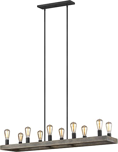 Feiss F3931 10WOAF Avenir Industrial Farmhouse Linear Chandelier, 10-Light 750 Watts 4 H x 50 L , Weathered Oak Wood Antique Forged Iron