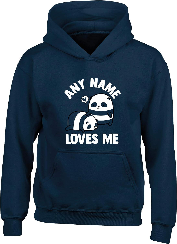 Hippowarehouse Personalised Name Loves Me Panda Kids Childrens Unisex Hoodie Hooded top