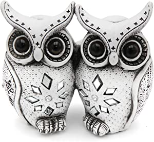 Rockin Owl Figurine Couple Set Very Cute Statue, 2 White Owls Together - Nice Decoration for Home Office, White/Black