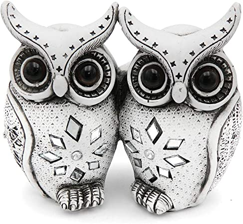 Pair Of 2 White And Silver Ceramic OWL Set Decorative and Gift