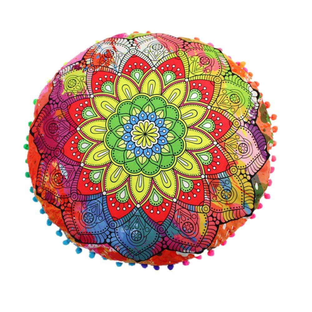 JiaMeng Almohadas de Piso Mandala Indio de Colorido Otoño Flor Árbol de Algodón Throw Pillow Case Funda de Almohada para cojín