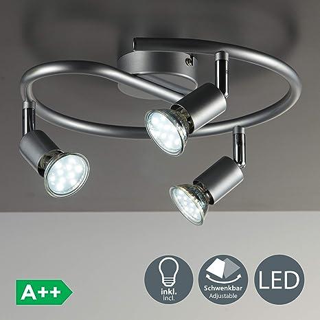 BKLicht Lámpara de techo con focos giratoria incl. 3 x 3 W bombillas LED GU10 Aplique de salón