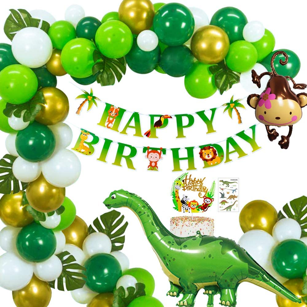 Jungle Dinosaur Birthday Party Decoration Kid S Party Supplies Kit With Three Big Dinosaurs Balloon Happy Birthday Banner Dinosaur Cake Topper Stickers For Festival Party B Amazon Co Uk Toys Games
