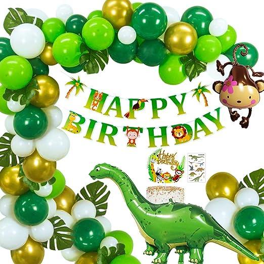 MMTX Selva Dinosaurio Globos Fiesta de cumpleaños decoracion Chico, Birthday Bandera con Hojas de palma Verde Oro Globos Mono Globo para Niños ...