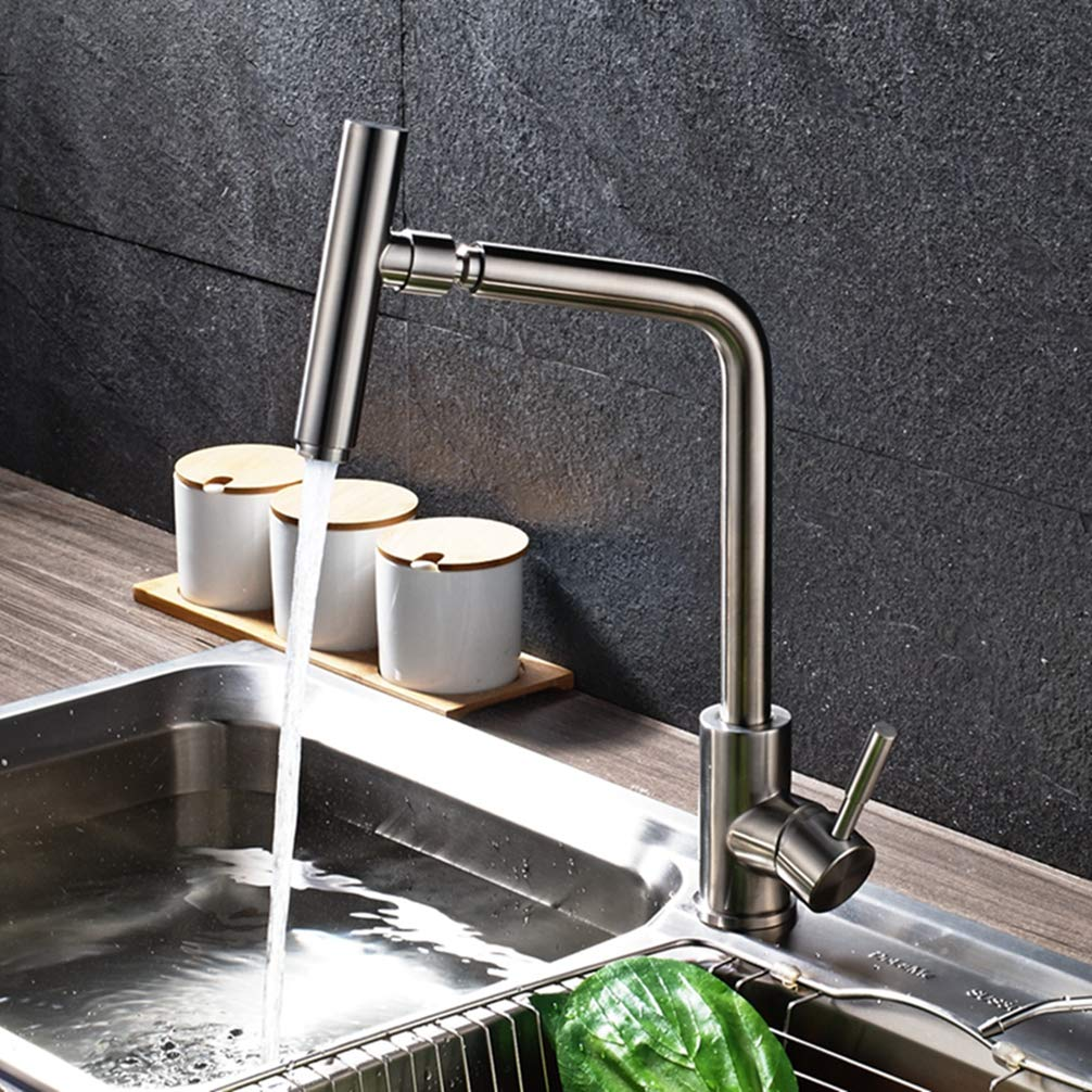 FZHLR 304 Stainless Steel Beushed Nickel Kitchen Sink Faucet 360 Degree Rotating Spout Faucet Hot & Cold Water Mixer Tap Deck Mounted
