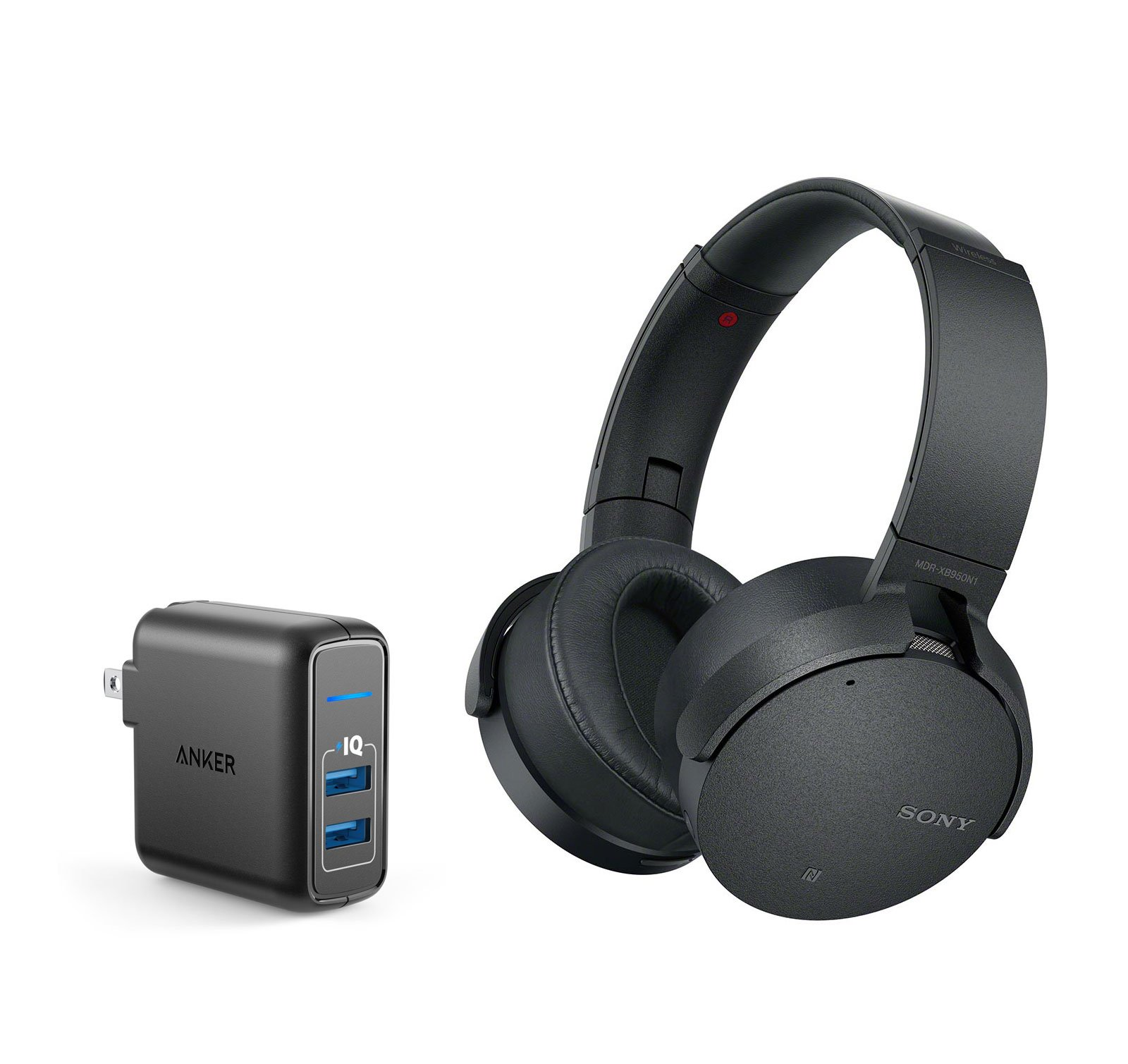 Sony MDRXB950N1/B Noise Cancelling Bluetooth Headphone Bundle with Dual Port 24W USB Travel Wall Charger - Black