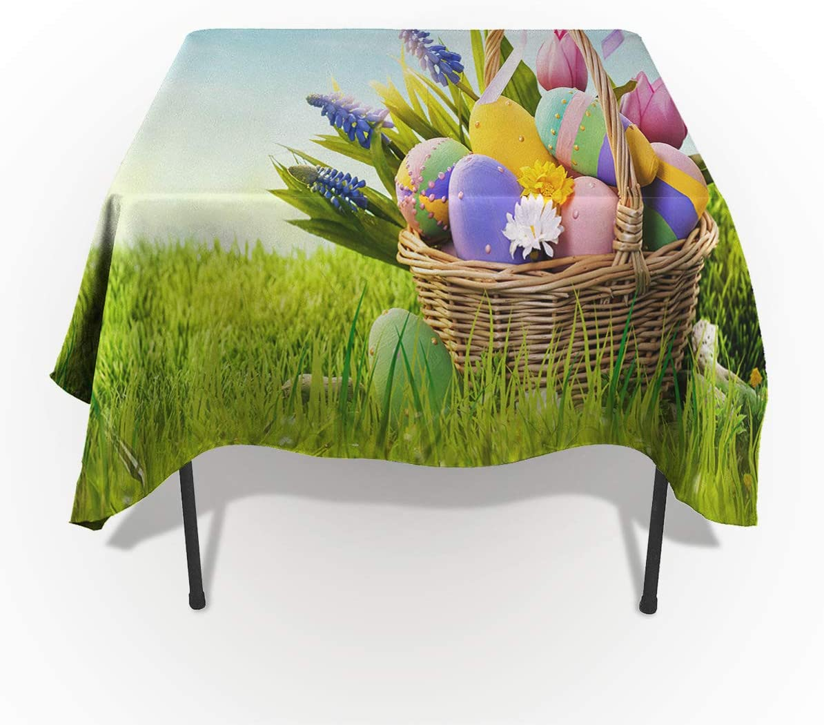 Happy Easter Tablecloths For Square 60 X 60 Inch Table Cover Cotton Linen Fabric Table Cloth For Dining Room Kitchen Ornamental Eggs In Basket Ribbon Decoration Spring Nature Home Kitchen