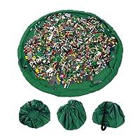 Busta per giocattoli, organizzatore con coulisse Lego tappeto Toocoo spalla oversize tappetino impermeabile per picnic e giochi per neonati (verde)