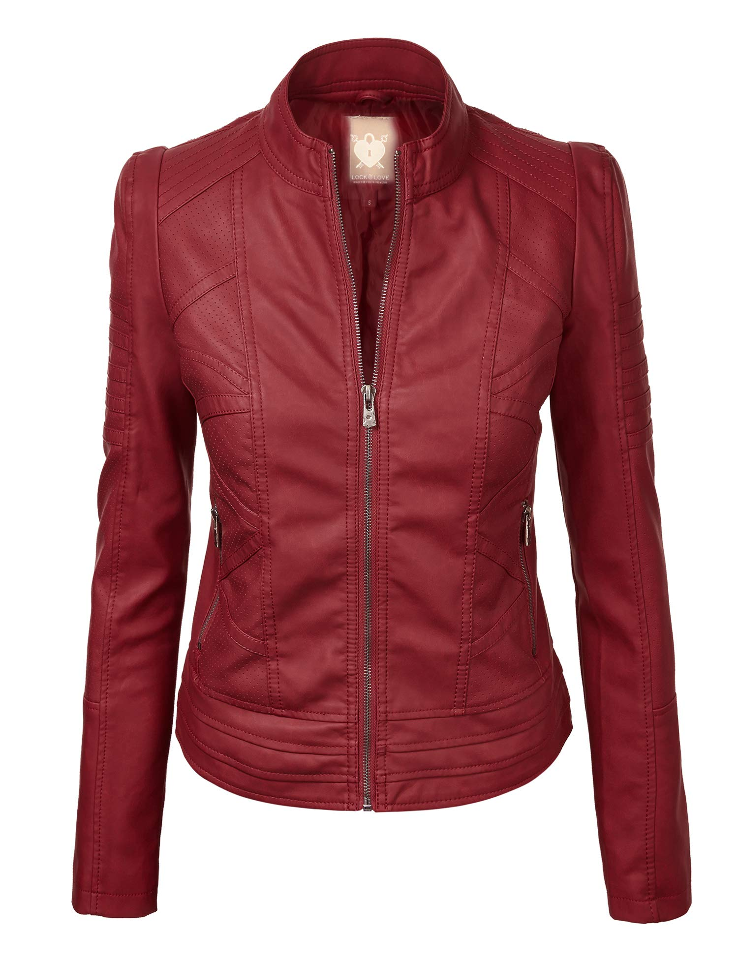 Lock and Love LL WJC746 Womens Vegan Leather Motorcycle Jacket M Wine