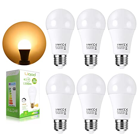 Liqoo® 6x 12W Bombilla LED E27 Globo Bulbo Normal Lámpara Regulable Bajo Consumo Blanco Cálido
