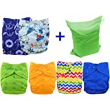 Babygoal Cloth Diaper Covers for Boys, One Size Adjustable Reusable Diaper Covers for Prefold and Fitted Cloth Diapers, 6pcs Baby Boy Covers+One Wet Bag 6DCF03