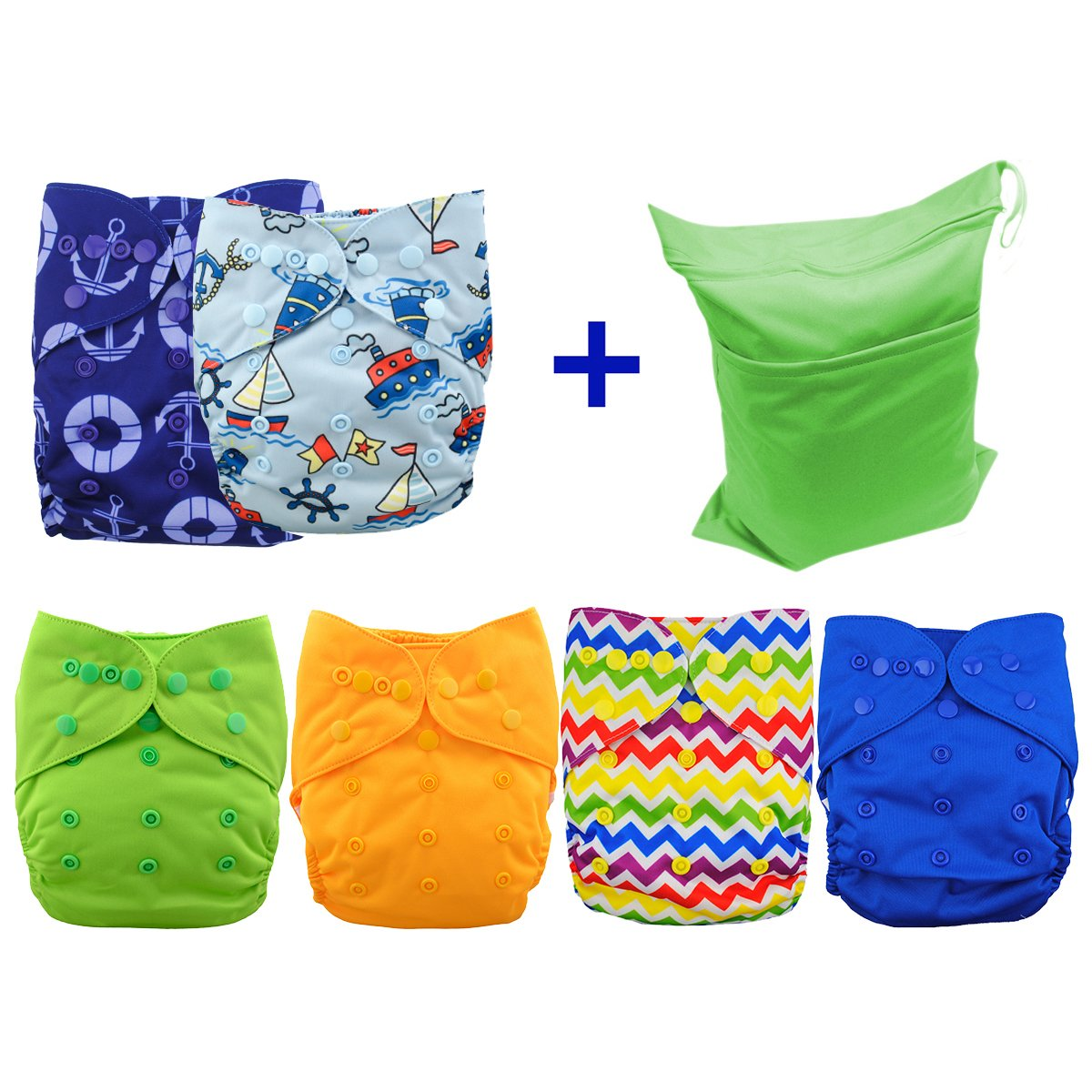 Babygoal Cloth Diaper Covers for Girls,Baby Adjustable Reusable Covers for Fitted Diapers and Prefolds, Baby Girl Clothes, 6pcs Covers+ One Free Wet Bag 6DCF01-CA