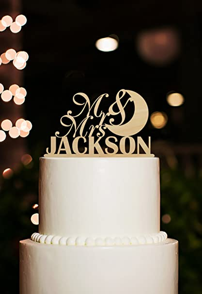 Amazon.com: Simple Wedding Cake Toppers Mr and Mrs Moon Cake Topper ...
