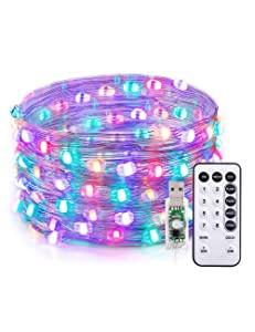 TaoTronics LED String Lights,33ft 100 LEDs USB Powered Dimmable Copper Fairy String Lights,Warm White & 4 RGB Colors,16 Lighting Modes, Remote Control,IP65,Decorative Lights for DIY bedroom,Patio,Yard