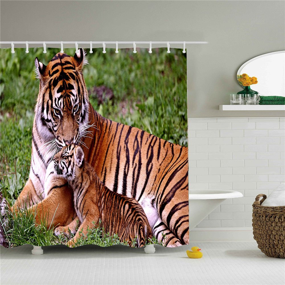 Tiger And Baby Tiger Shower Cutains-Water,Soap,and Mildew resistant-Machine Washable-12 Shower Hooks are Included-66'' x 72''