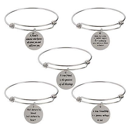 bdf428562 5-pack stainless steel charm bracelets best friendship gifts for friend  women female bracelets for