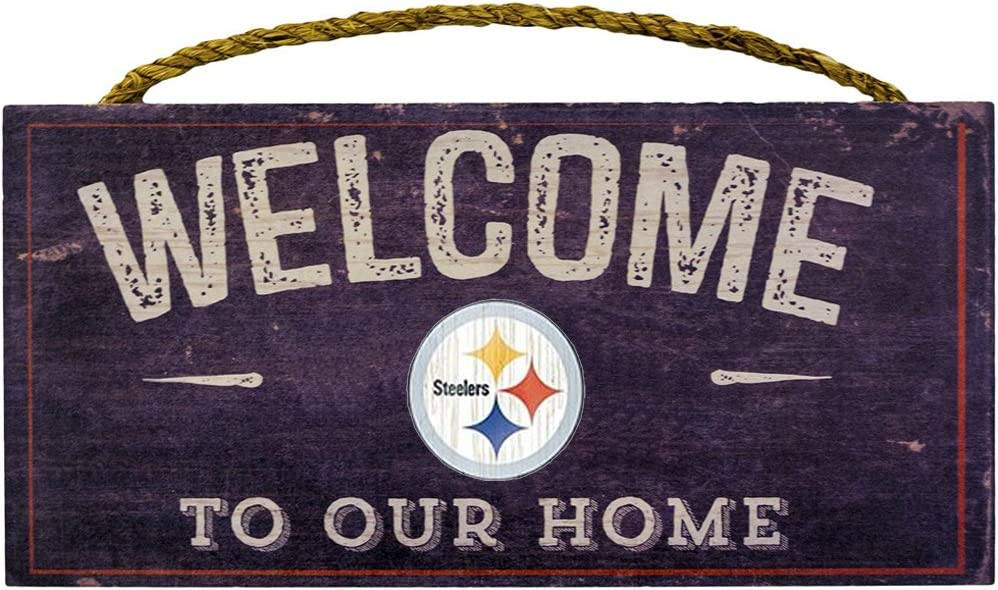 """Fan Creations Welcome Pittsburgh Steelers Distressed 6 x 12, 6"""" x 12"""", Multicolored"""