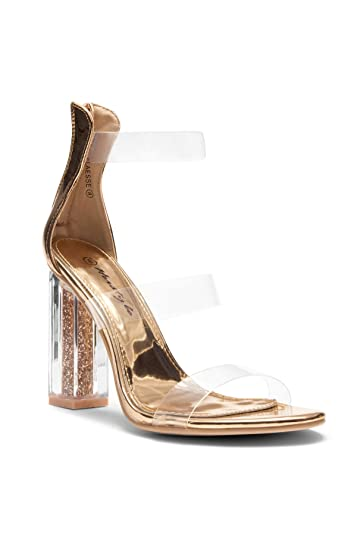 254aaad1c3e Herstyle Women s Elaesse Metallic Open Toe Lucite Strap Glitters Perspex  Heel Clear Rose Gold 11