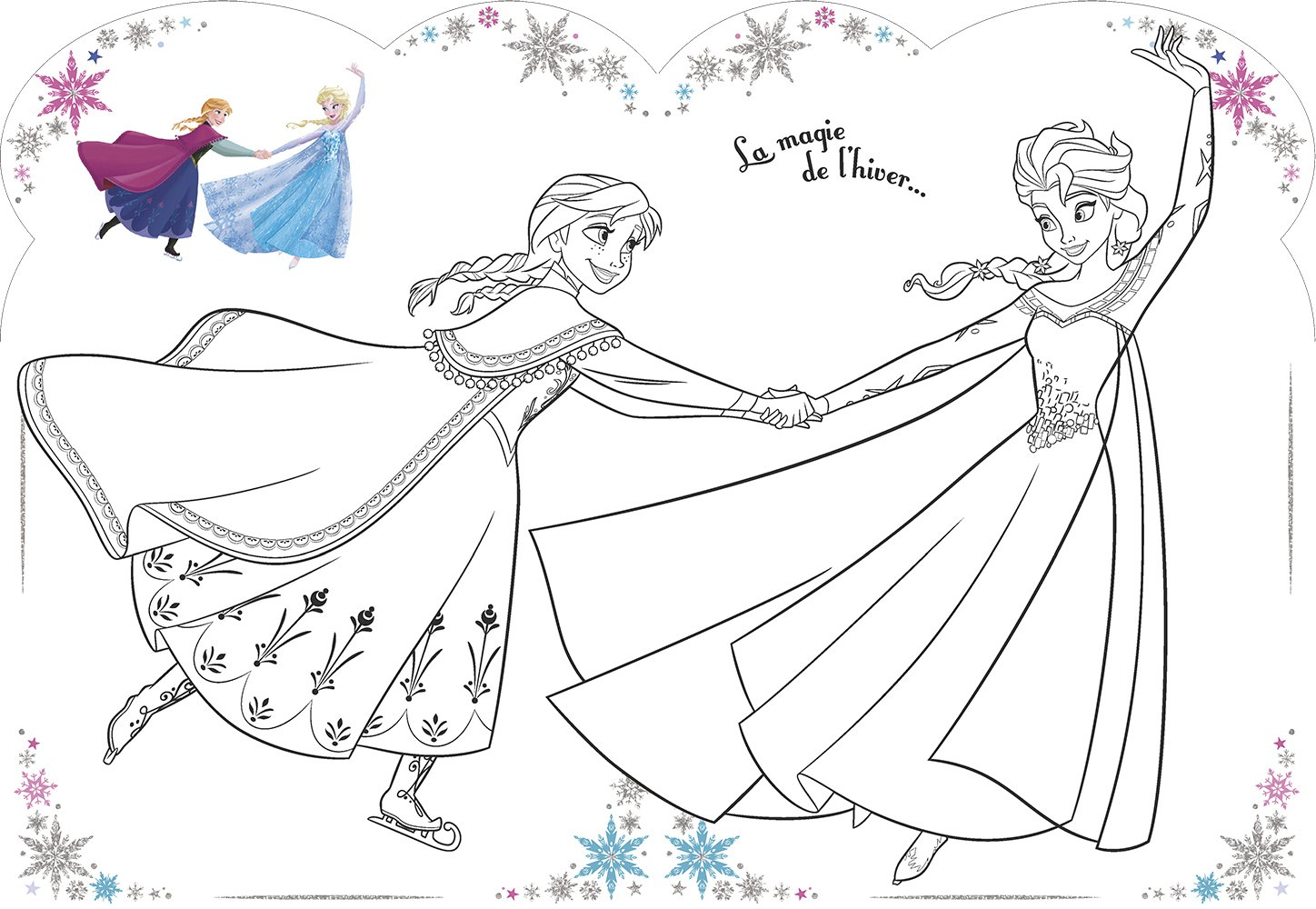 Disney La Reine Des Neiges Vive Le Coloriage Patin A Glace