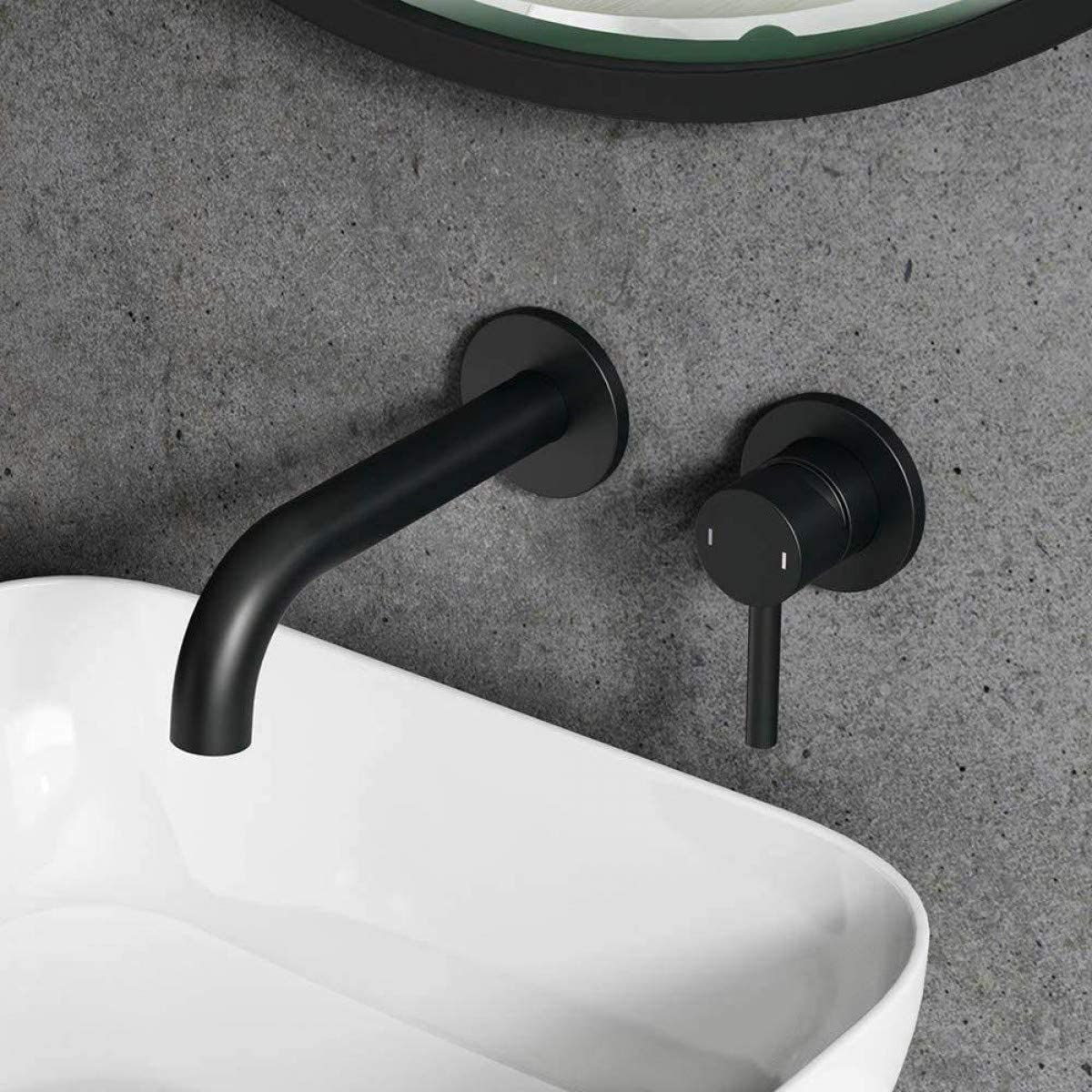 Matt Black Bathroom Brass Basin Hot and Cold Mixing Mixer Tap with Spout