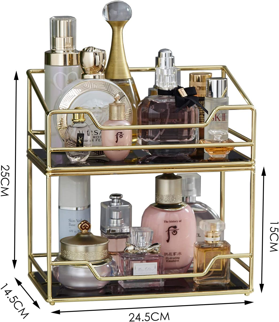 Amazon Com 2layer Stackable Glass Perfume Tray 2 Tirer Spacious Gold Black Mirror Metal Bathroom Tray For Makeup Jewelry Organizer Ornate Decorative Tray For Vanity Desser Countertop Kitchen Home Kitchen