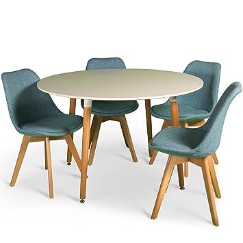Green Spirit Dining Table Round White 120 X 72 Cm Wood Room Retro Scandinavian Amazoncouk Kitchen Home