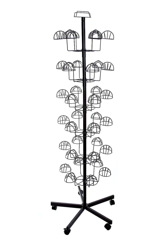 drehbarer M/ützenst/änder Pr/äsentationsst/änder Per/&u M/ützenst/änder mit 6 Etagen Hutst/änder 6 K/öpfe pro Etage Gro/ßer Verkaufsst/änder f/ür bis zu 36 M/ützen 1,95 Meter hoch Marktst/änder