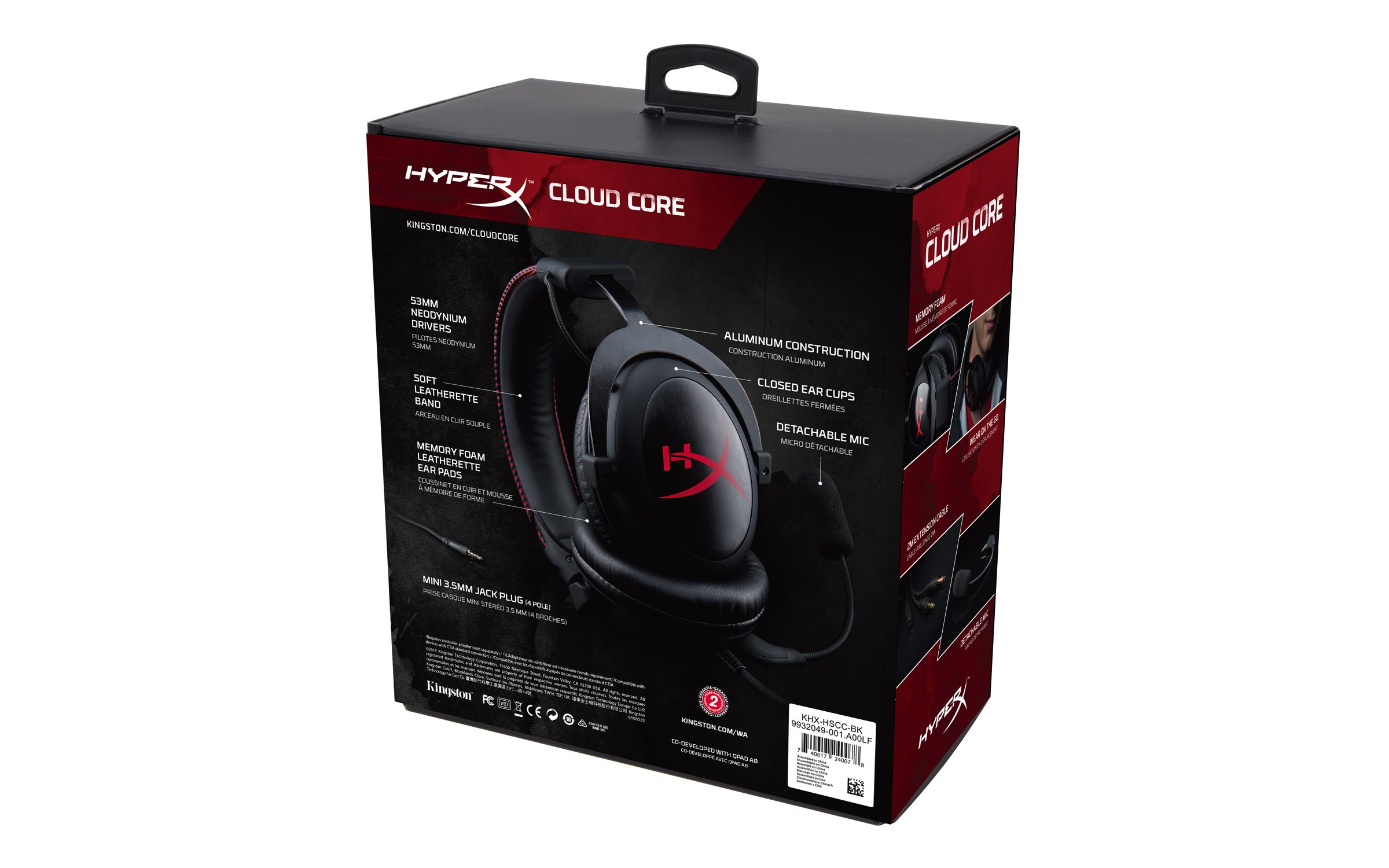 HyperX Cloud Core Gaming Headset - Durable Aluminum Frame - 53MM Drivers - Detachable Microphone - Works with PC/PS4 & Xbox One, Nintendo Switch (KHX-HSCC-BK) by HyperX (Image #6)