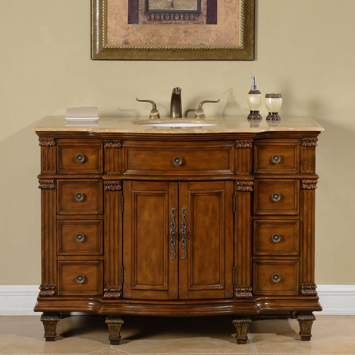 Silkroad Exclusive 48-inch Travertine Stone Top Bathroom Single Sink Vanity Cabinet