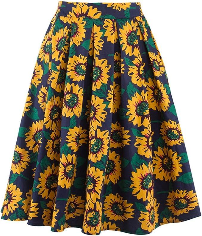 Moshow Falda Plisada para Mujer, diseño de Girasol, Falda Amarilla ...