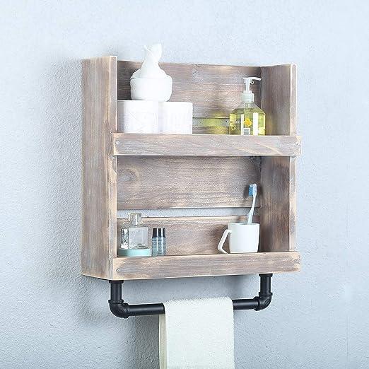 Amazon Com Gwh Rustic Wood Bathroom Shelves Wall Mounted With