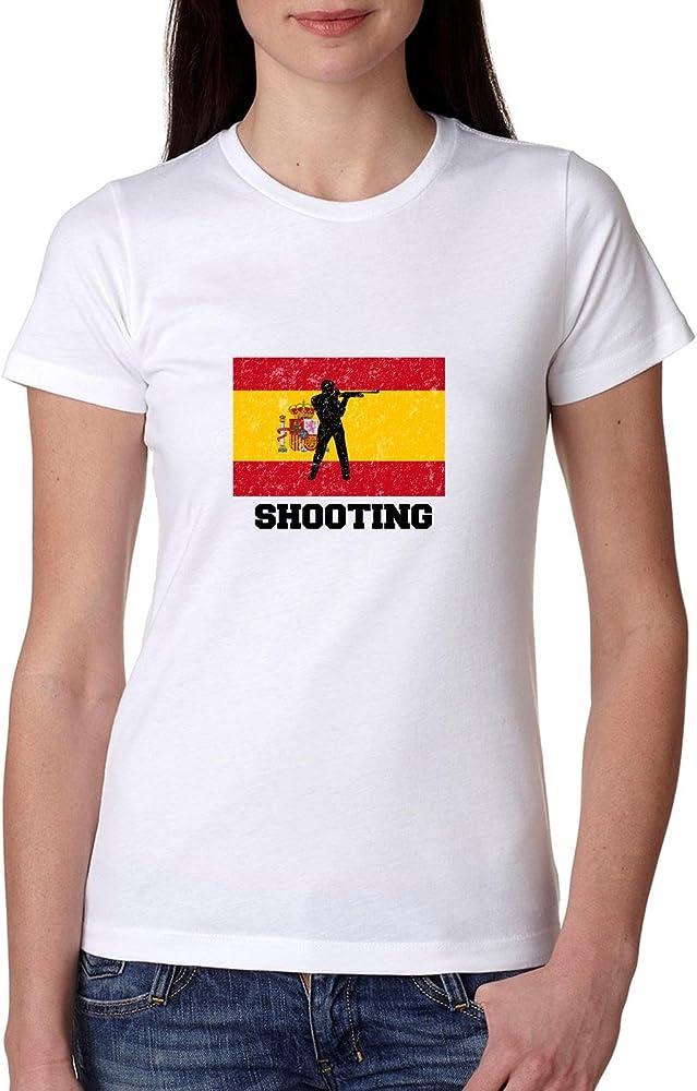 Olímpicos de España diseño de silueta de disparo – bandera – Camiseta de algodón de las mujeres: Amazon.es: Ropa y accesorios