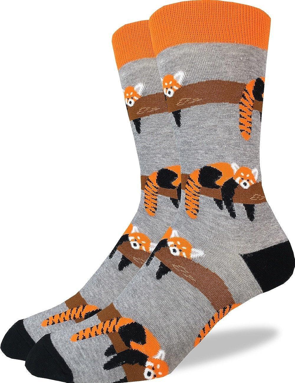 Good Luck Sock Men's Red Panda Crew Socks - Grey, Adult Shoe Size 7-12 1290