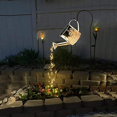 LoyisViDion Star Shower Garden Art Light Decoration - Led Light, Watering Can Decor, Led Fairy Lights, Funny Art, Garden Statues, String Lights for Outdoors (F(with Brackett))
