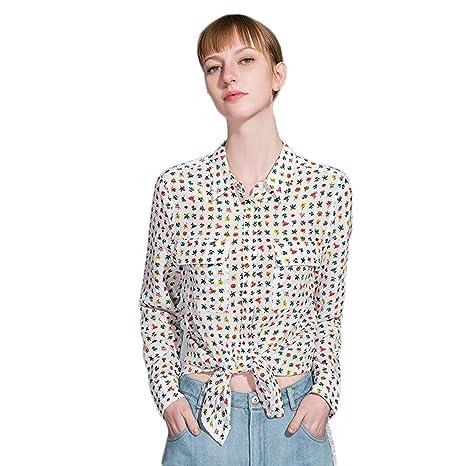 488861050a AIBAB Camicia di Seta Sciolta Camicia di Seta da Donna Camicia di ...