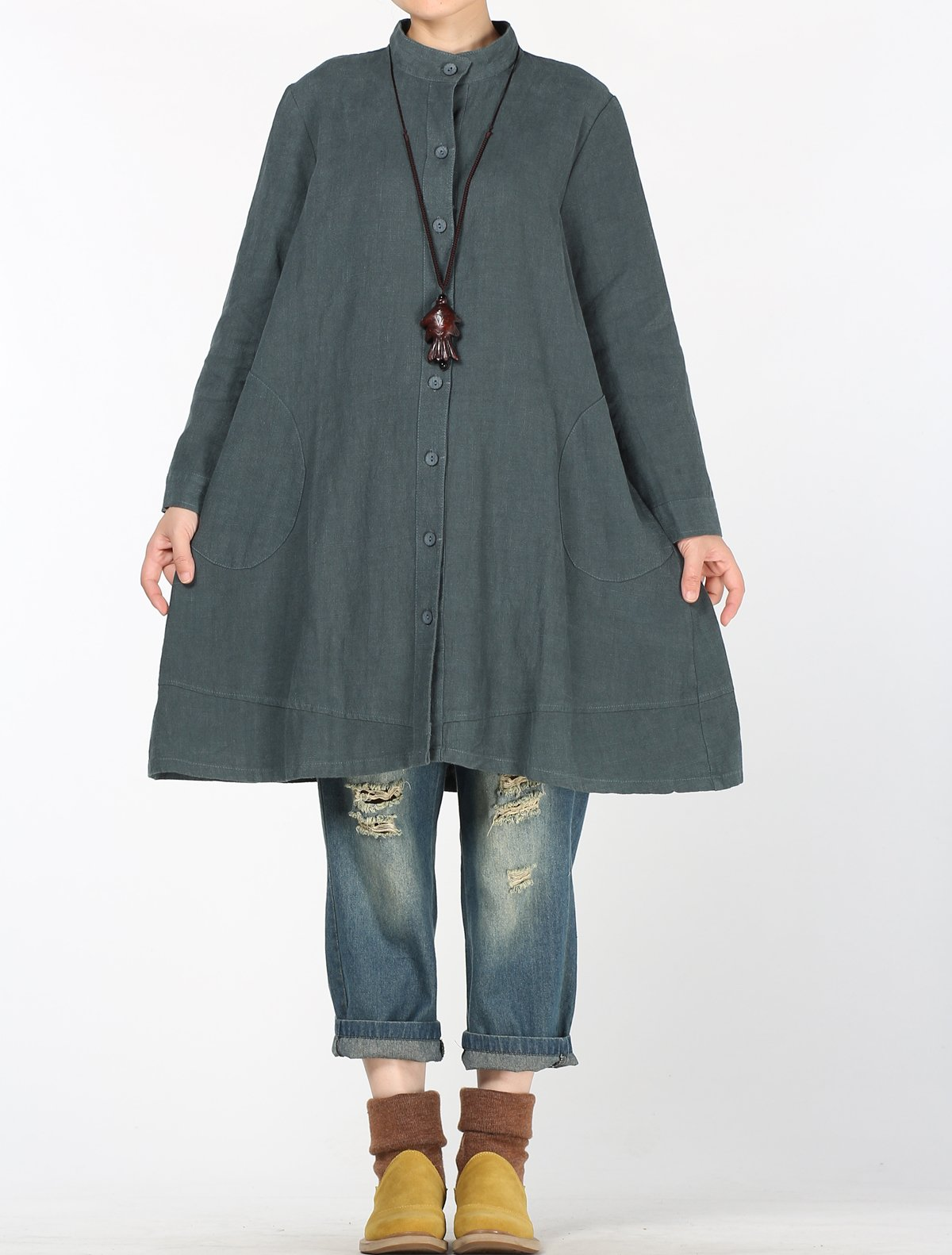 Mordenmiss Women's Cotton Linen Full Front Buttons Jacket Outfit with Pockets Style 1 L Dark Green by Mordenmiss (Image #2)