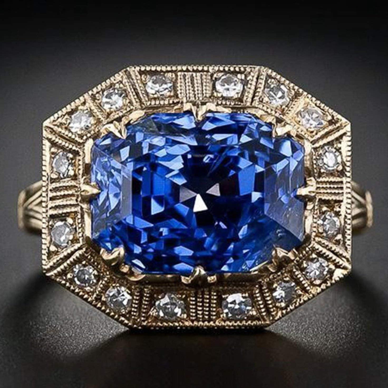dfhdrtj Antiguo Joyería Arte Natural Zafiro Azul&Diamante Anillo con Piedra Preciosa Novia Boda Compromiso Anillo Joyería