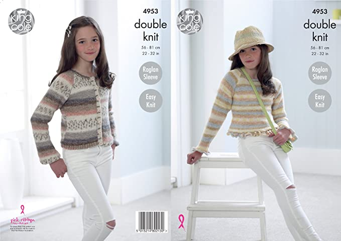 Girls Sweater /& Cardigan Double Knitting Pattern King Cole Kids Vogue DK 4462
