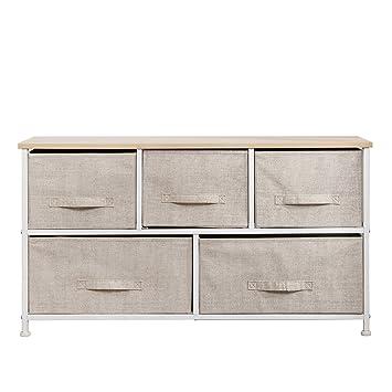 DlandHome Armario de almacenaje Cómoda Organizador con 5 cajones/Cajas de Almacenamiento de Tela para el Dormitorio, la habitación o el lavadero, ...