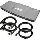 TESmart DisplayPort + HDMI Dual Monitor KVM Switch Support UHD 4K @ 60Hz USB 2.0 Devices Control Up to 2 Computers with (DP+H
