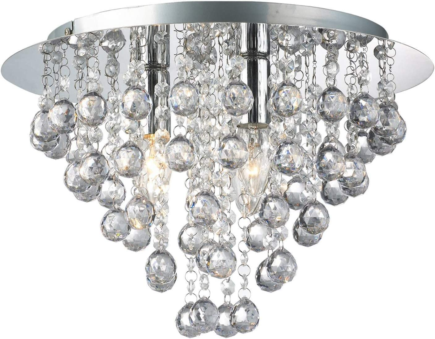 Dst Crystal Chandelier Lighting, Modern Chandeliers Crystal Ball Light Fixture with 5 Lights, Flush Mount LED Ceiling Light for Hallway, Bedroom, Living Room, Kitchen, Dining Room, Size D18 H13