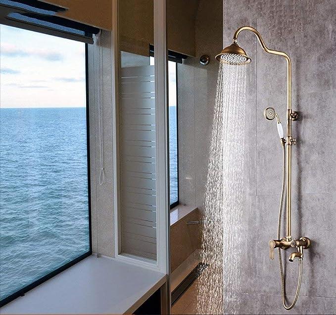 Giow Set de Ducha Acero Inoxidable Cepillado Dorado contemporáneo Mampara de baño Mampara de Ducha a Distancia: Amazon.es: Hogar
