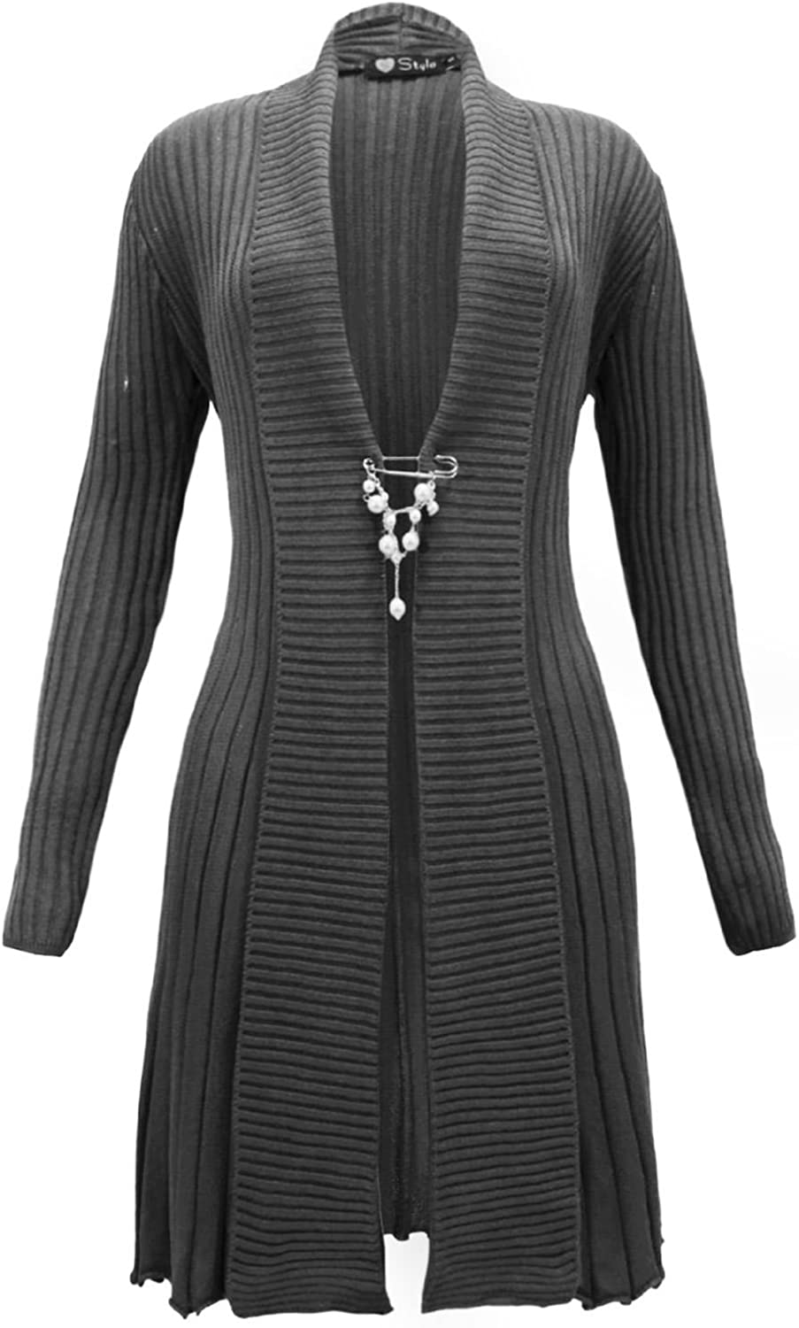 TOP VENDOR Ladies Womens Knitted Boyfriend Cardigan Open Front Brooch Waterfall Dress TOP Pluse Size S M L XL 16 18 20 22 24 26 28 30