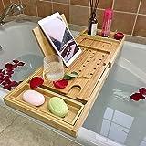Simhoo Wide Bamboo Bath Caddy Tray Wooden Bathtub Adjustable Holder & Organizer for Glass/Soap/Notepad/Mobile/Bathroom…