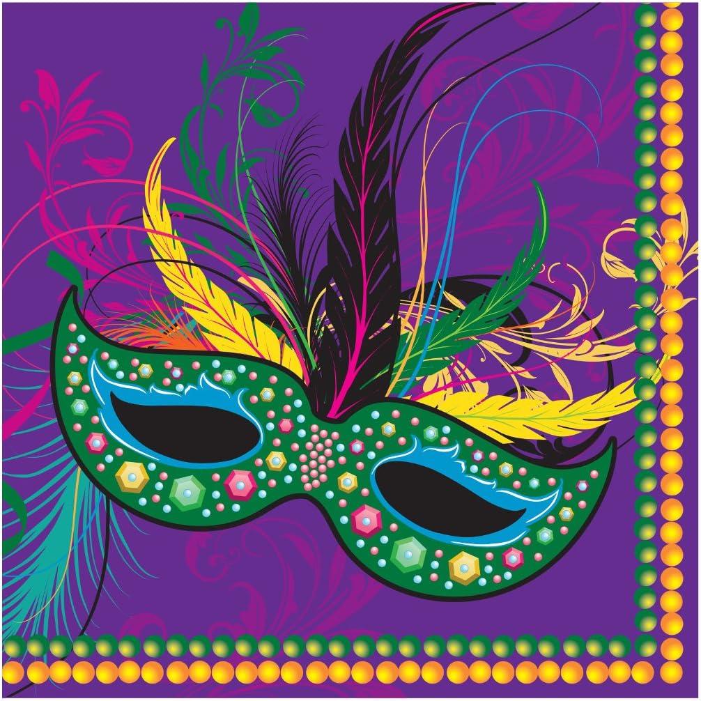 Creative Converting 652196 16 Count Paper Beverage Napkins, Mardi Gras Masks