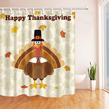 GoEoo Harvest Festival Happy Thanksgiving Day Shower Curtain In Bath 69X70 Inches Mildew Resistant Polyester Fabric