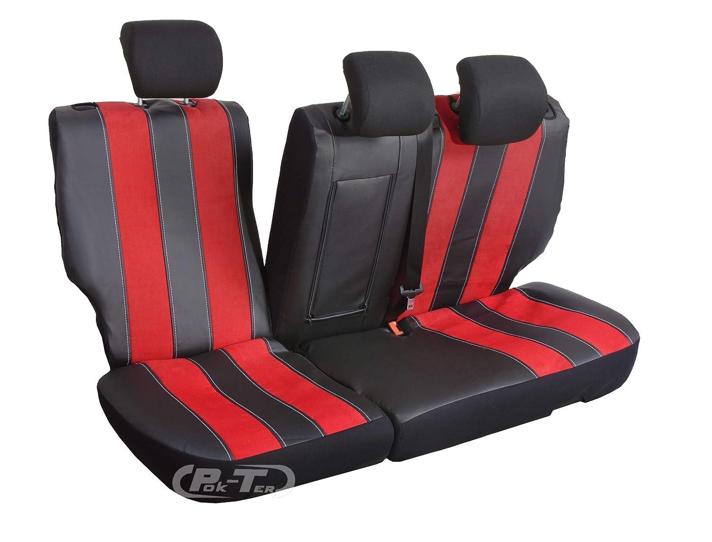 Coprisedili Nero con cucitura rossa Set completo di stoffa Rivestimenti elegante