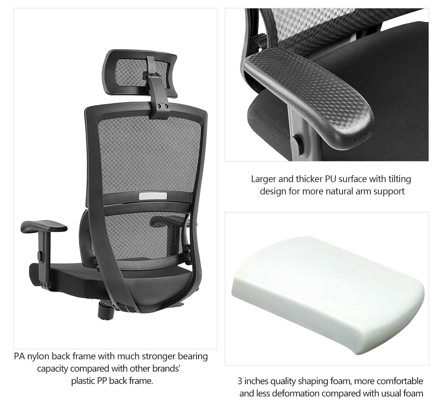 Ticova Ergonomic Office Chair with Unique Elastic Ring Lumbar Support and Thick Seat Cushion- High Back Mesh Chair with Adjustable Headrest and Armrest - Reclinable Computer Desk Chair by Ticova (Image #4)